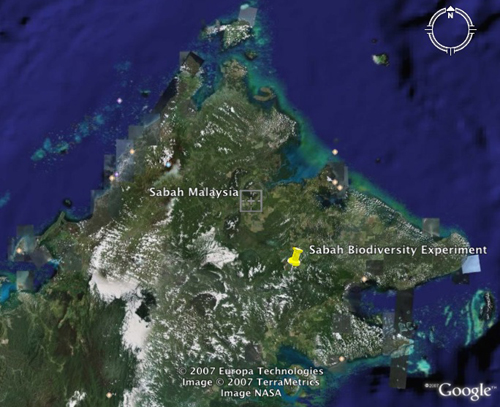 Satellite map of the sabah experiment.